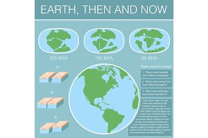 Tectonic Plates on the planet Earth. modern continents and   infographics Set of icons  Flat style with scheme