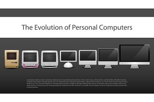 The evolution of computers 7 different types   from 20-th century to now monitors included computer new  old  modern  contemporary