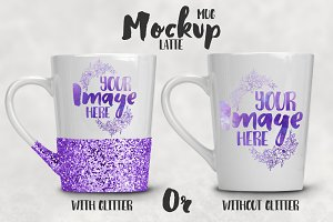 Tapered Glitter Latte Mug Mockup