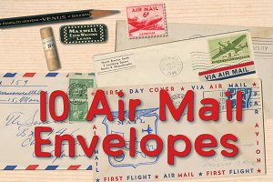 10 Retro Air Mail Envelopes