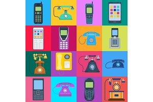 Telephones vector icons