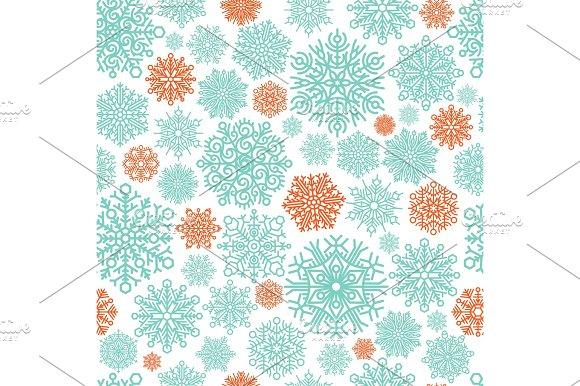 Snowflake vector seamless pattern.