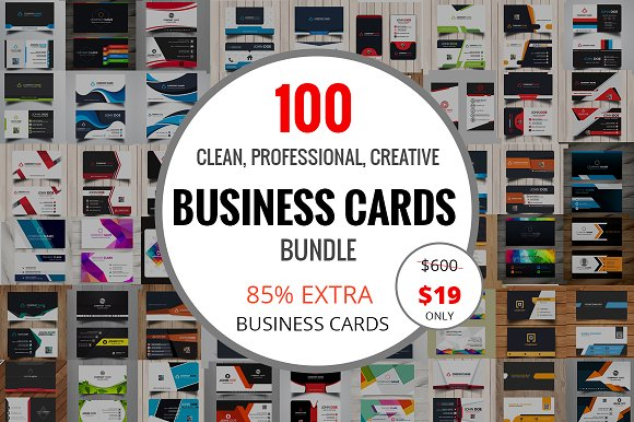 100 Clean Business Card Bundle