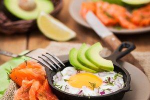 Fried egg, avocado, salmon