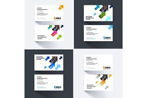 Vector business card template with diagonal positive arrows, tri