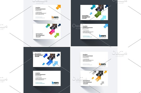 Vector Business Card Template With Diagonal Positive Arrows Tri