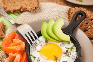 Fried egg, avocado, salmon