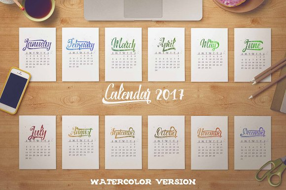Calendar 2017 Watercolor
