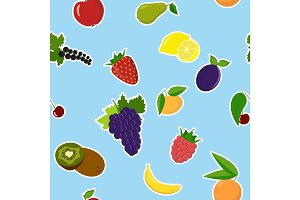 Background of colorful cartoon fruit icons