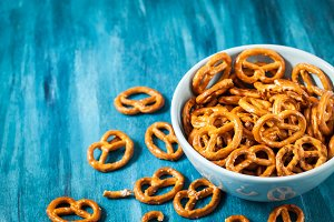 Salty snacks mini pretzels