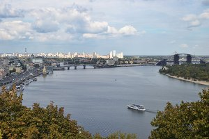 View of the city Kiev and the Dnieper River with a new bridge