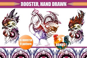 Rooster, graphic illustration