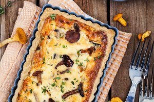 Delicious mushrooms pie