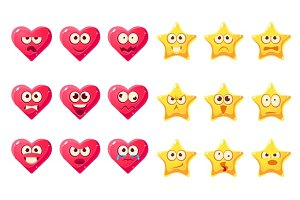 Golden Star, Pink Heart Emoji Character Set