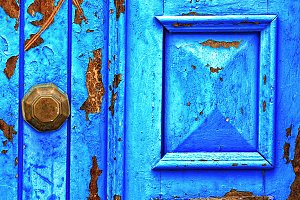 Blue gate in Asillah Morocco
