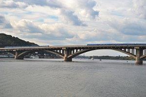 Metro bridge , Pedestrian bridge . Kiev, Ukraine .