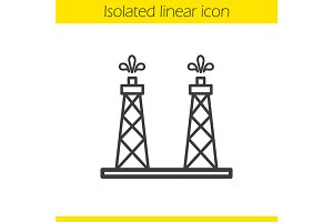 Oil production platform icon. Vector