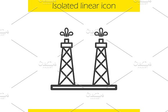 Oil Production Platform Icon Vector