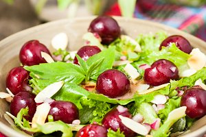 Summer green salad with cherry