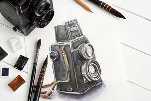 Sketch of camera, old camera, paints
