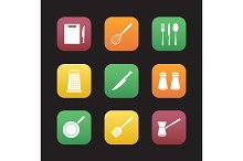Cooking instruments. 9 icons. Vector
