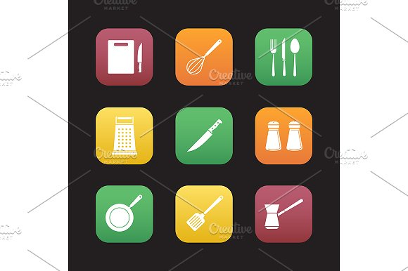 Cooking Instruments 9 Icons Vector