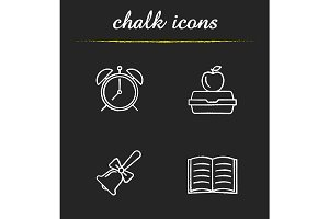 School and education 4 icons. Vector