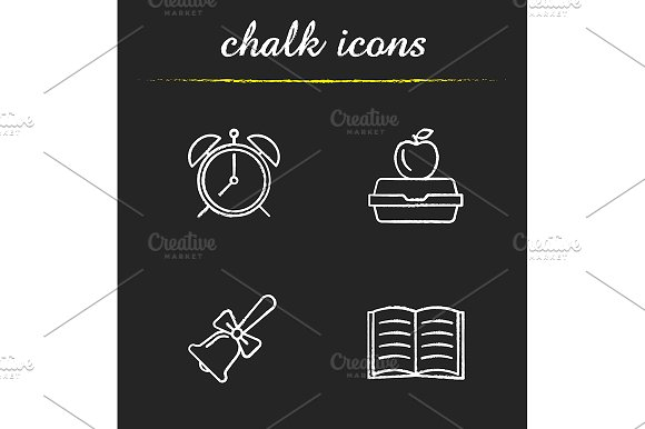 School And Education 4 Icons Vector