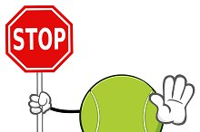 Tennis Ball Holding A Stop Sign
