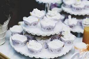 Cupcakes covered with white glaze