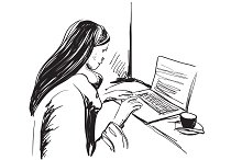 Girl with computer illustration