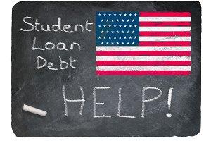 Student loan concept using chalk on slate blackboard