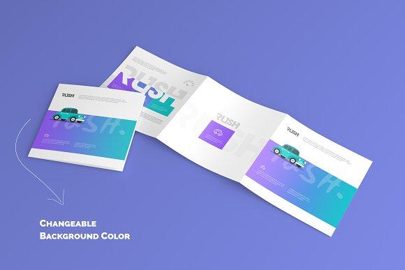 Square Trifold Brochure Mock-Ups
