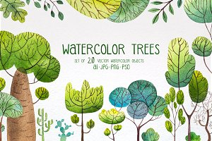 Watercolor trees set#2