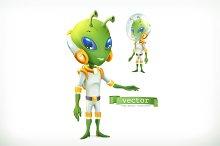 Alien in spacesuit. Vector icon 3d