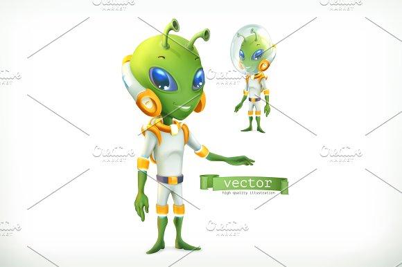 Alien In Spacesuit Vector Icon 3d