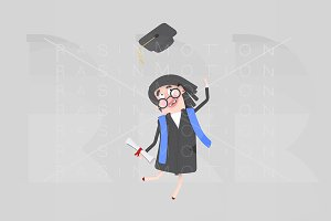 Graduate woman jumping with her cap
