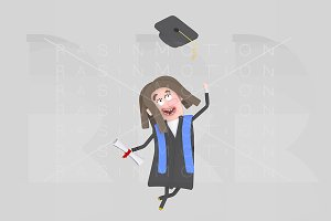 Graduate girl jumping with her cap