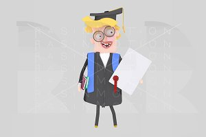 Graduate blonde man with diploma