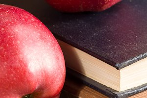 Apples and old vintage book