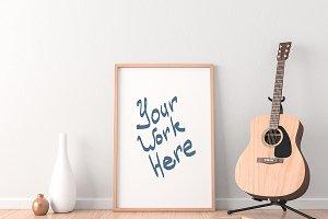 Poster Frame PSD Mockup and Guitar