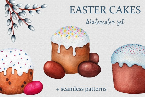 Easter Cakes Watercolor Set