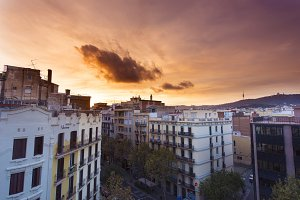 Barcelona Spain Rooftop Sunset