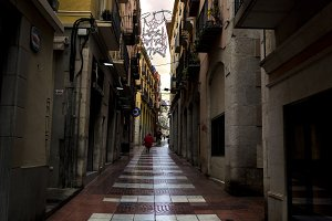 Narrow Street in Figueres Spain