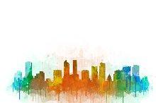 Denver Cityscape Watercolor Skyline3