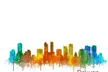 Denver Cityscape Watercolor Skyline2