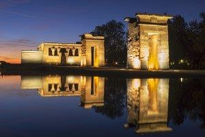 Temple of Debod illuminated
