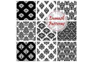 Damask floral ornate seamless patterns set