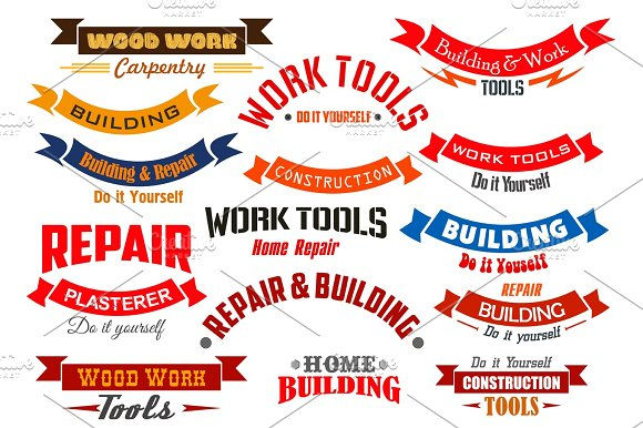 Repair Construction Carpentry Vector Icons Set