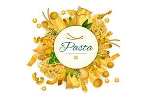 Pasta vector poster for Italian cuisine